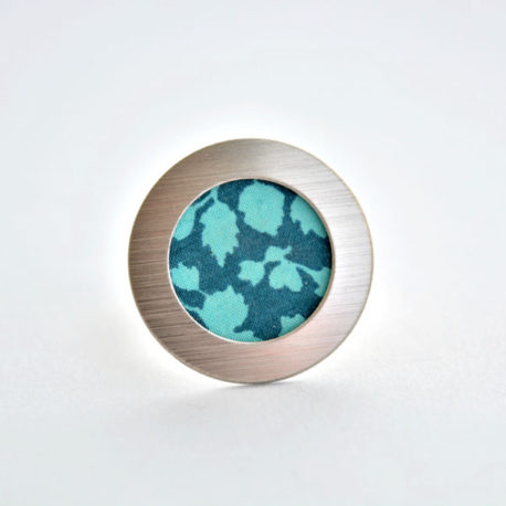 bague tissu feuillage turquoise