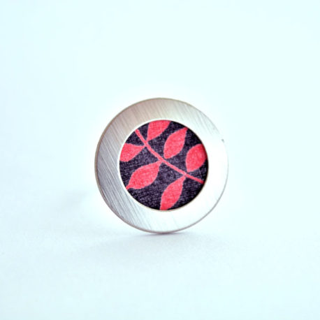 bague tissu feuille rouge