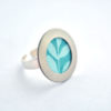 bague tissu feuille turquoise