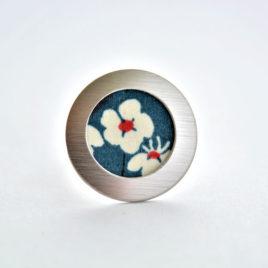 bague tissu japonnais fleur bleu japonnais