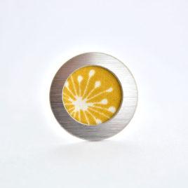 bague tissu fleur jaune or
