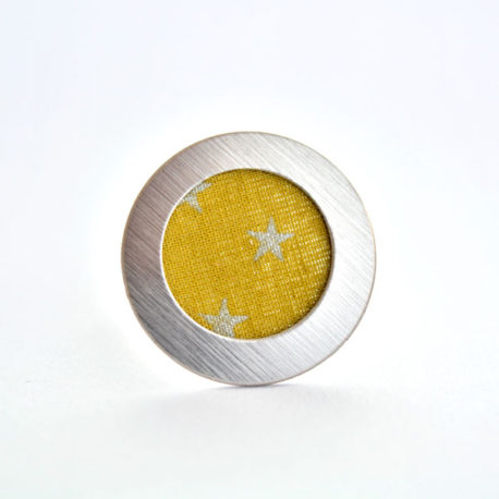 bague tissu jaune moutarde