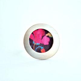 bague tissu rose ibiscus