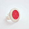 bague tissu rouge pois roses