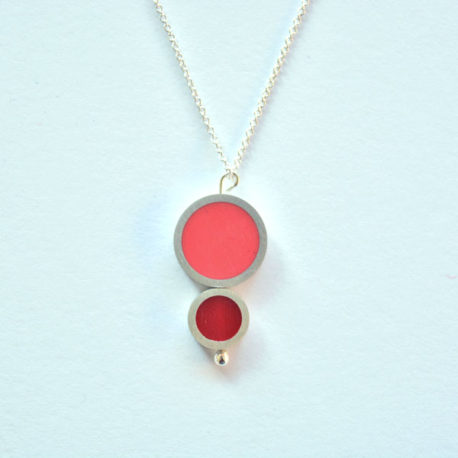 collier TUB 2 éléments rose rouge
